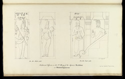 Four standing figures. 'Sculptured Figures on the 2nd Story of the Square Ruddam at Mahabalipooram. Copd. by J. Mustie 6th April 1819.' f.37